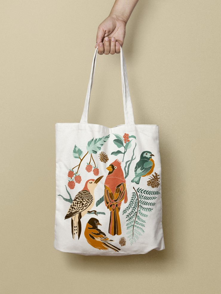This is an illustration designed to be applied to products such as tote bags and stationery products. This artwork contains four bird illustrations  and floral elements. The Northeastern birds in this illustration are a cardinal, red-bellied wood pecker,