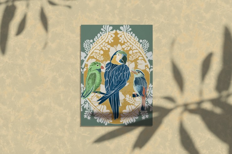 This is an illustration designed to be applied to products such as tote bags and stationery products. This illustration includes three tropical birds that are rendered in a flat color style with detailed line work describing the feathers. These tropical b