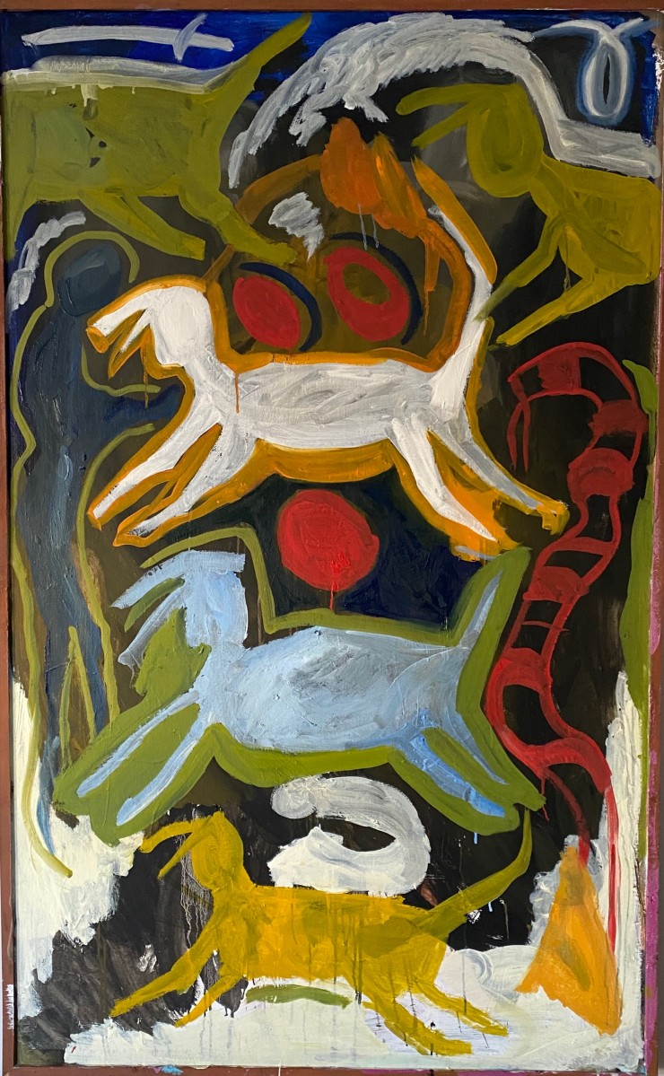 On a large vertical canvas, through several layers of rough paint, the basic shapes and outlines of 4 cows are stacked on each other. The background consists of color blocked black, white, green and yellow color spaces in abstract forms.