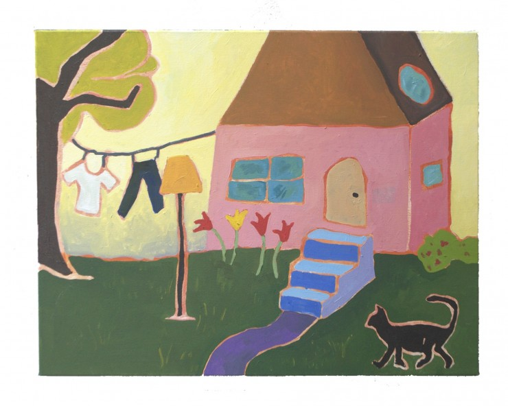 A pink house sits in a yard against a pale yellow sky. A purple and blue path and stairs cut through the green lawn leading up to the house. To the left of the house, a tree supports a clothing line with a tee shirt and jeans. To the right of the house, a