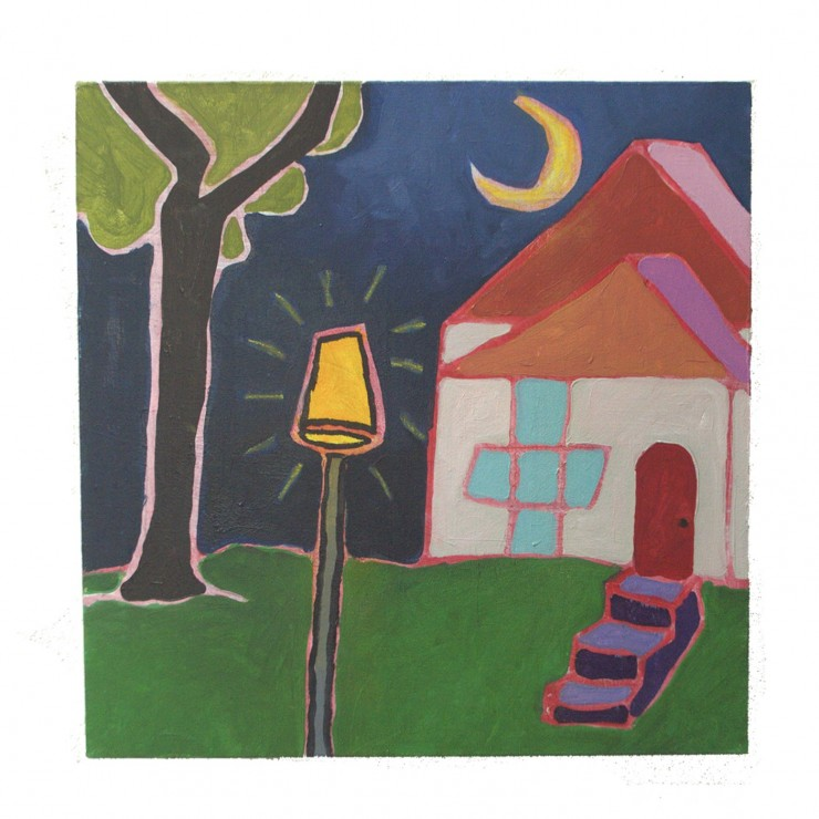 A cream house with a red roof, red door, and blue windows sits atop a vibrant green lawn. The sky is a dark midnight blue, gradually getting lighter towards the top of the painting. A large yellow crescent moon hangs in the sky. A tree is to the left of t