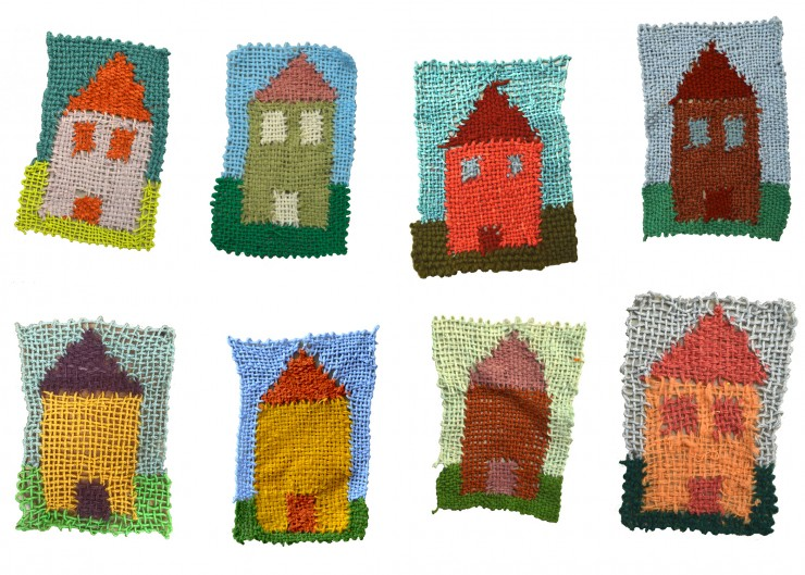 Eight individual weavings are shown against a white background. Each weaving depicts a simple house shaped form, set against shades of blue sky and green grass.