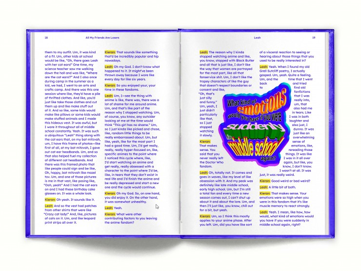 """Four spreads of a book, each filled with two columns of electric blue text. Each one has a little call out word art on it. In order, they say: """"Maybe I'll cringe at this, maybe I won't. What's important is that it makes me happy now."""", """"Wha"""