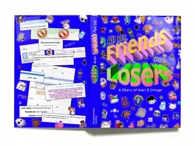 The back cover of the book is a combination of the same sort of small clip art from the front of the book as well as a series of collage screenshots from abandoned social media pages.