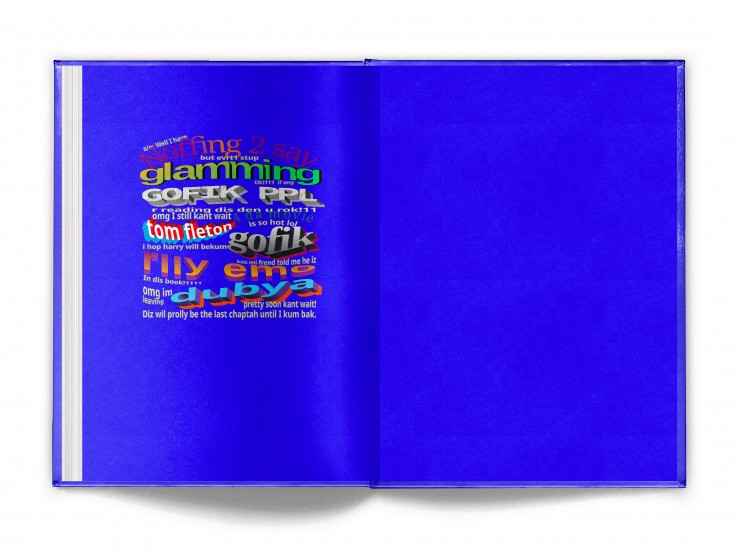 """One of them is the back inside cover of a book and the other one is the full cover. The back inside cover is completely blew it with a much smaller paragraph written in the same word art style as the front inside cover. It reads, """"AN: well I hav noff"""