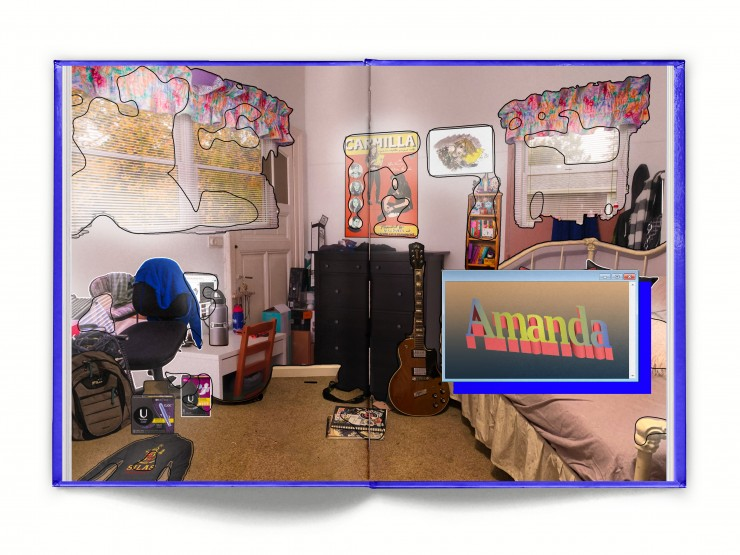 Amanda's room is more subtle. It's a normal teenager's bedroom. There is various merch items from the webseries Carmilla spread around the room, as well as a few boxes of U By Kotex Tampons.