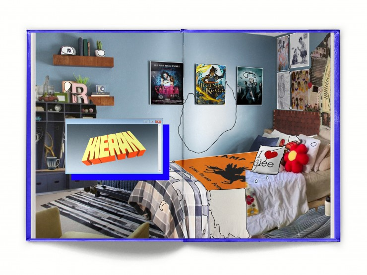 Kieran's, my own, is a blue bedroom with a Percy Jackson bedspread, a Glee Pillow, and various posters adorning the wall, including fanart from Burdge Bug.