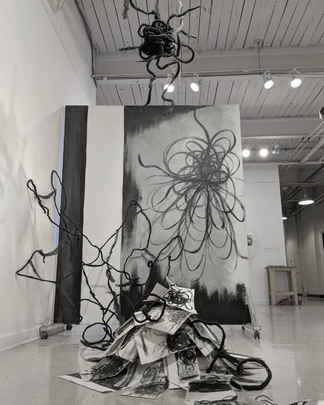 Chaotic dream imagery representing traumatic stress and anxiety.