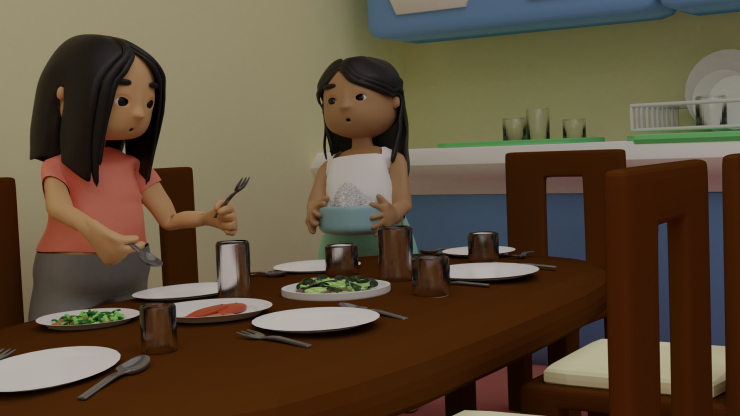 This shot shows the two characters setting the table, one with a spoon and fork in her hands, and the other with a pot of rice, there is a plate of fish, veggies, some plates and cups on the table.