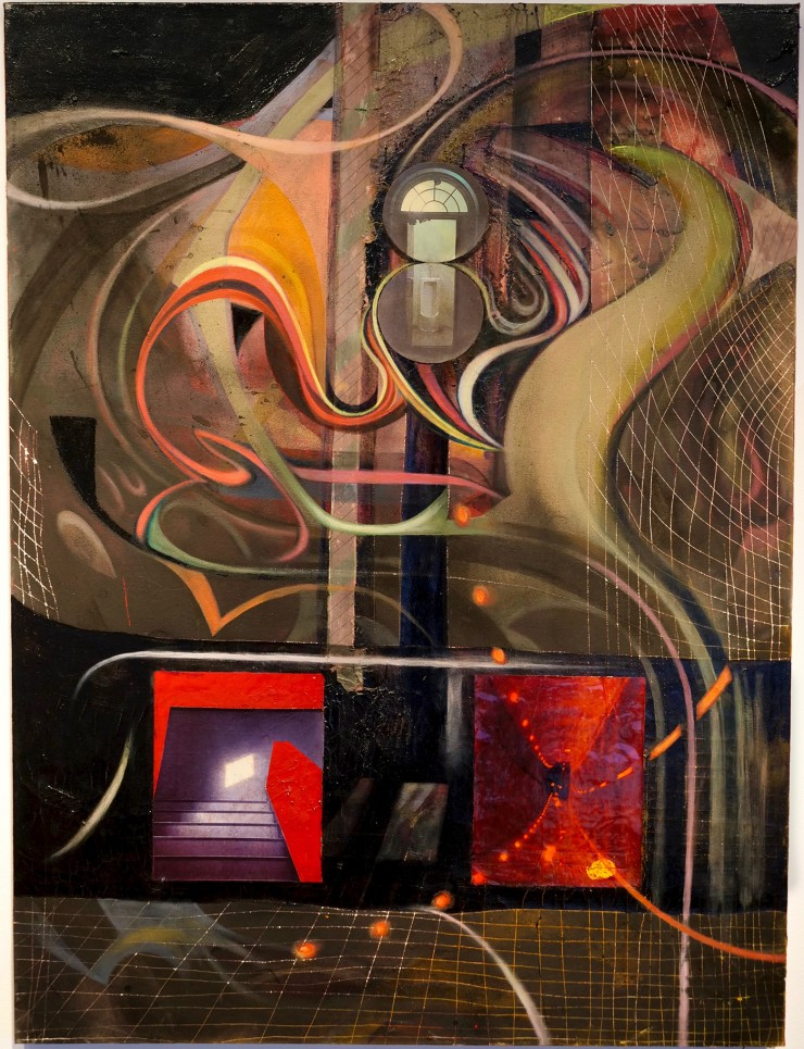a painting of a dark, vast abstract plane, filled with colorful shapes, pathways, grids, and lights stringing 3 collaged photographic images together in space; a staircase with a bright pane of light, a dark car tunnel turned on its side, and a urinal.