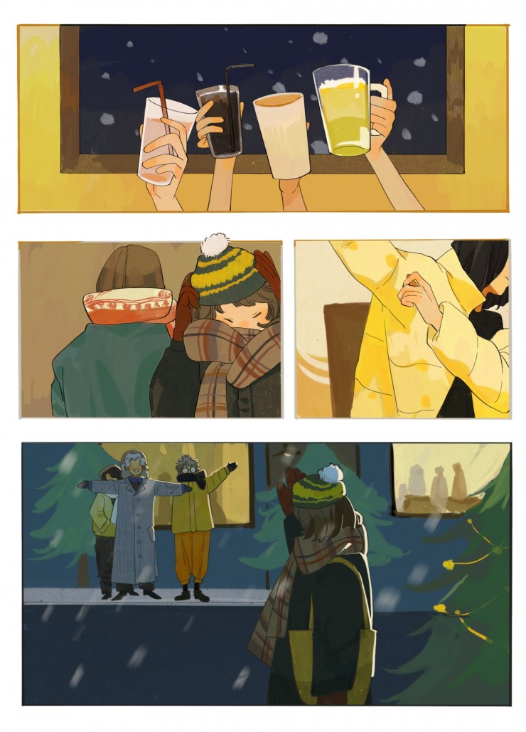 Two-page illustration about a night out with friends.
