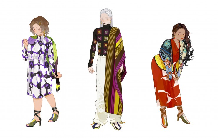 Draw clothes for three paper dolls from different designers and themes.