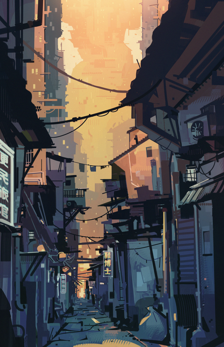 """Illustration of a dark alleyway in the streets of Chao Chi city, with the rest of the city rising in the distance. Part of my thesis project """"Breakout""""."""