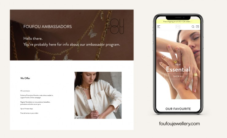 A UI/UX project in redesigning Foufou Jewellery's official website (PC and mobile devices), I conceptualized a newly improved design based on its original visual identity to be more comfortable and accessible, and I also added a new interactive experience