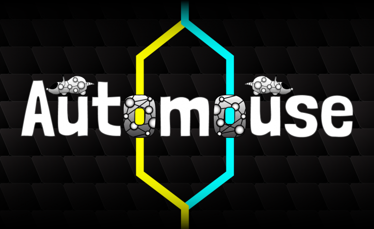 """Image of the word """"Automouse"""" with yellow and blue lines going through the word, and white robot mice on top of the word """"Automouse""""."""