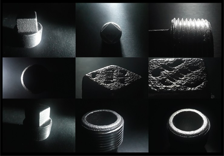 Collage of 9 images of a Square Head Plug from different angles with a single light sources