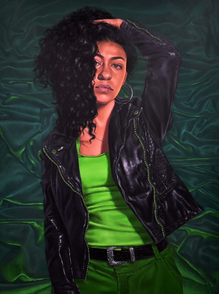 Painting of a woman wearing a leather jacket with one arm above her head