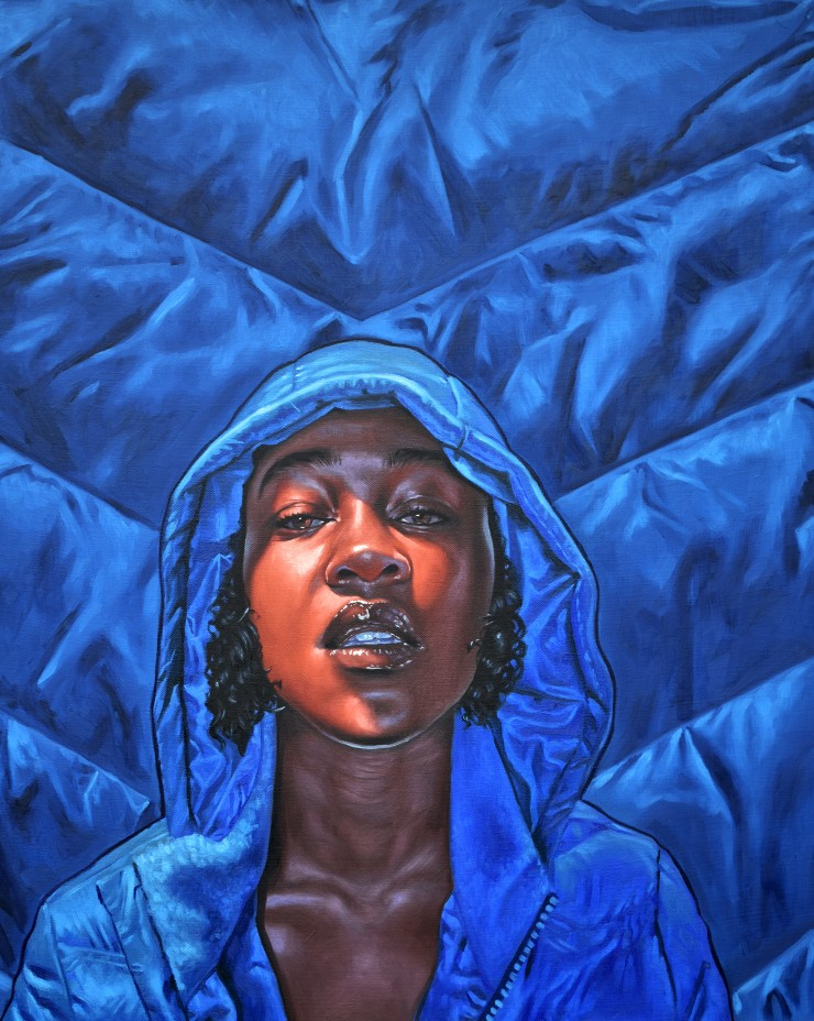 Painting of a woman in a hoodie