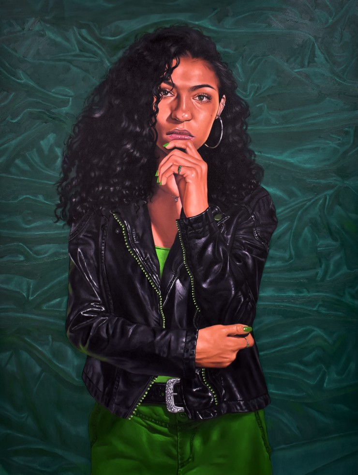 Painting of a woman wearing a leather jacket.