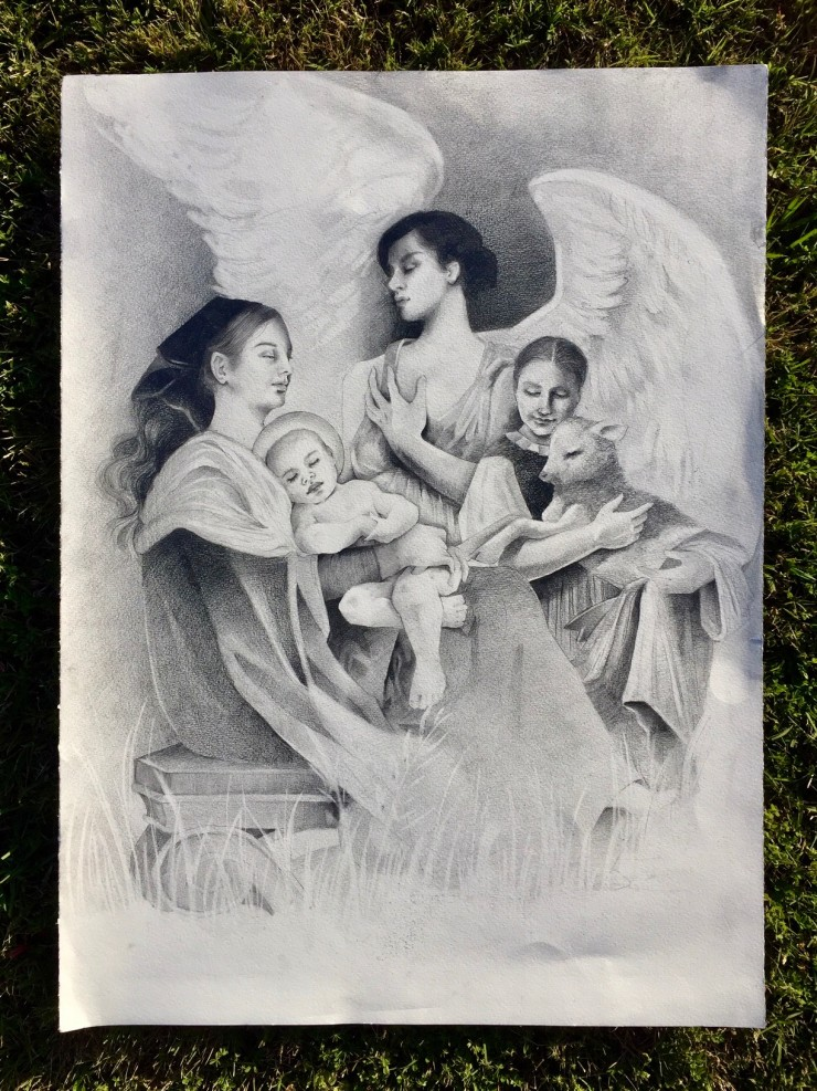 A small crowd gathers around a baby Jesus who is cradled by his mother Mary. Mary is surround by a small shepherd girl and an angel with soft outstretched wings.