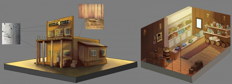 An isometric view of an Old West General Store, both the interior and exterior. The interior contains many cluttered items such as barrels and bags of flour.