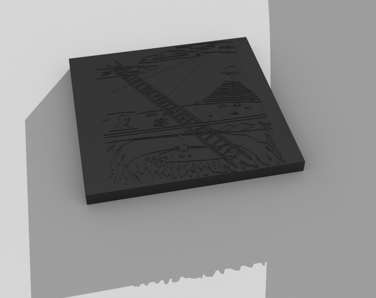 digital rendering of solid black block with an impression of the image into it