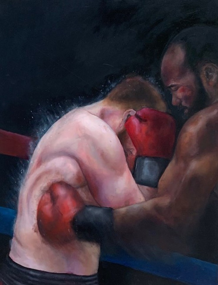 Boxer punching another in the mid section
