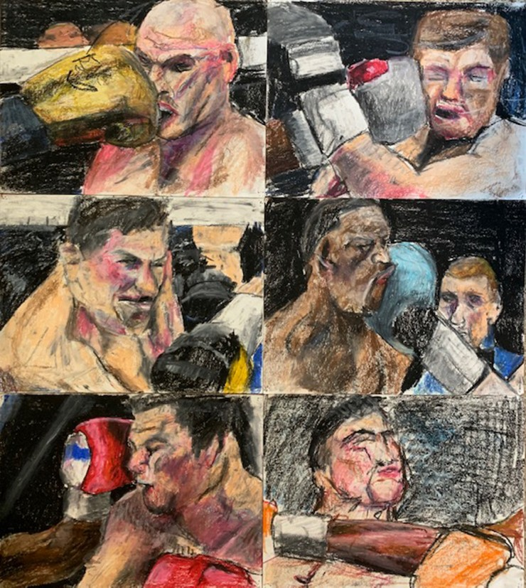 panels with pictures of boxing