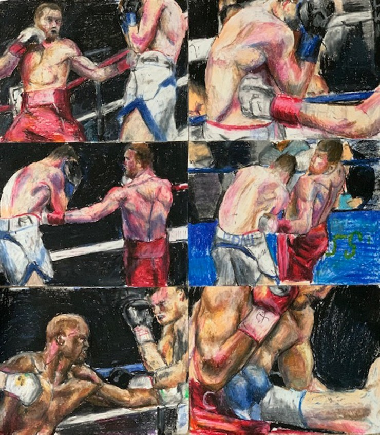 sketches of boxers fighting