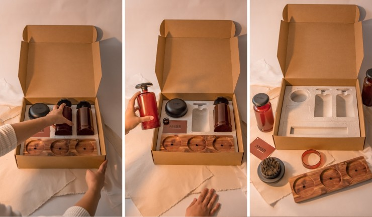 Three images that display the system of products along with the packag-ing, to highlight the opening experience.