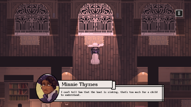 Screenshots of Beyond the Bow, a digital game set on the Titanic. The main character is pictured in various spaces traversing the interior of the Titanic and talking to characters. It is pixel art, with low lighting. This thesis was made by Kiera Boyle, M