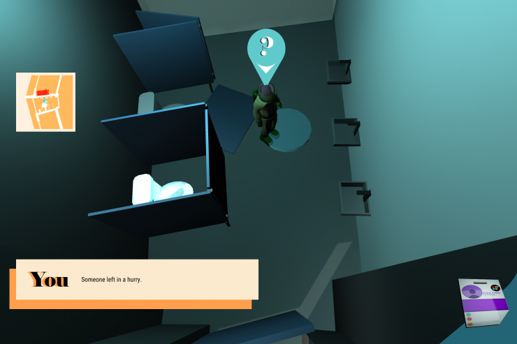 Screenshots of Find Their Place in Space, a digital game made by Claire Reid, Kiera Boyle, and Zack Combs. The game is a 3d adventure game on a doomed space station in 60's mid-century modern design. The station is colorful but dimly lit, with emergency l