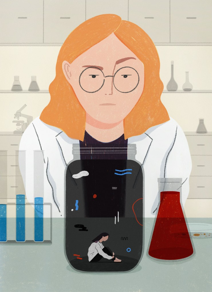 A ginger-haired scientist in a lab coat, observing an ant-sized adolescent in a dark jar in a lab setting.