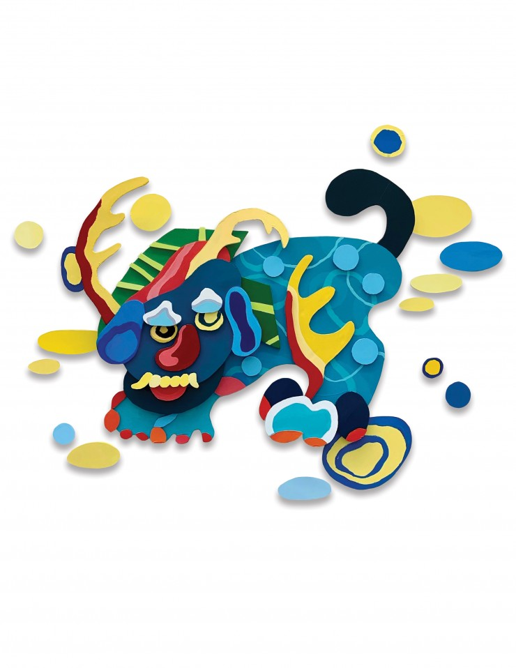 In this relief-like painting, Korean mythical creature 'Haetae' is in the combination of variety of patterns and vibrant colors, and is standing in the background of blue and yellow circular shapes.