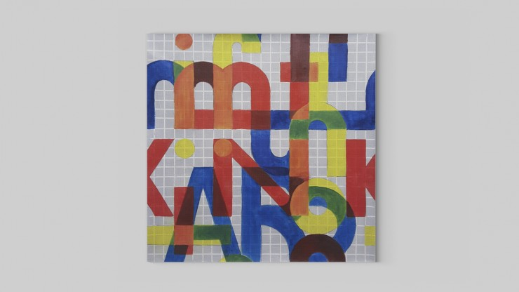 Taking inspiration from hand lettering, the grid gives a base to create letters using modular components. Making the paint translucent, to create interesting shapes in the overlaps as well as the negative space, shows how everything is connected and the i