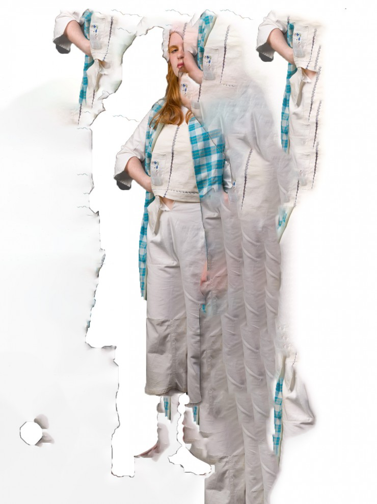 Figure in white pants, shirt and blue checked vest repeated over white background