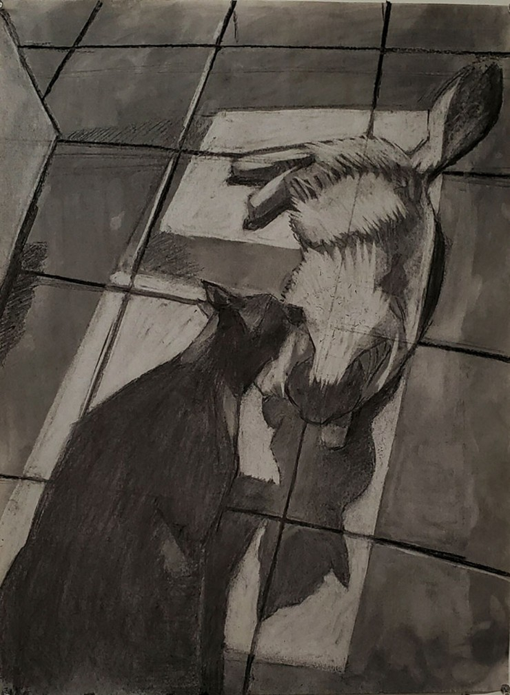 A charcoal drawing of a black cat cleaning the head of another cat as they lay in the middle of a tiled floor.