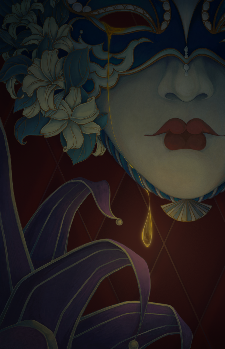In the darkness, the golden tear of the Venetian mask brought a little light.