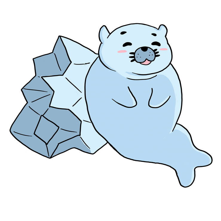 Sammi is a big, baby blue seal. The four illustrations are meant to be used as emoticons/gifs in chatrooms. Sad Sammi: Sammi pouts in a pool of water. Sleepy Sammi: Sammi lies on his side and is peacefully sleeping with Z's floating above him. Smiley Samm