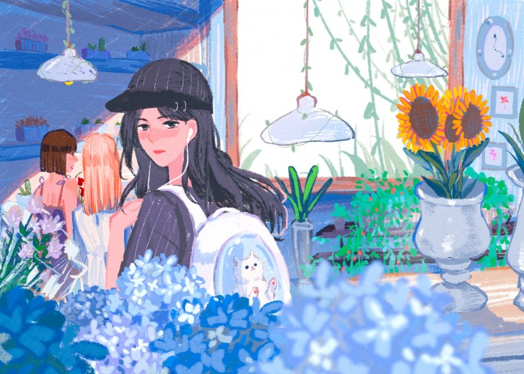 A girl walking in a flower shop with her cat.