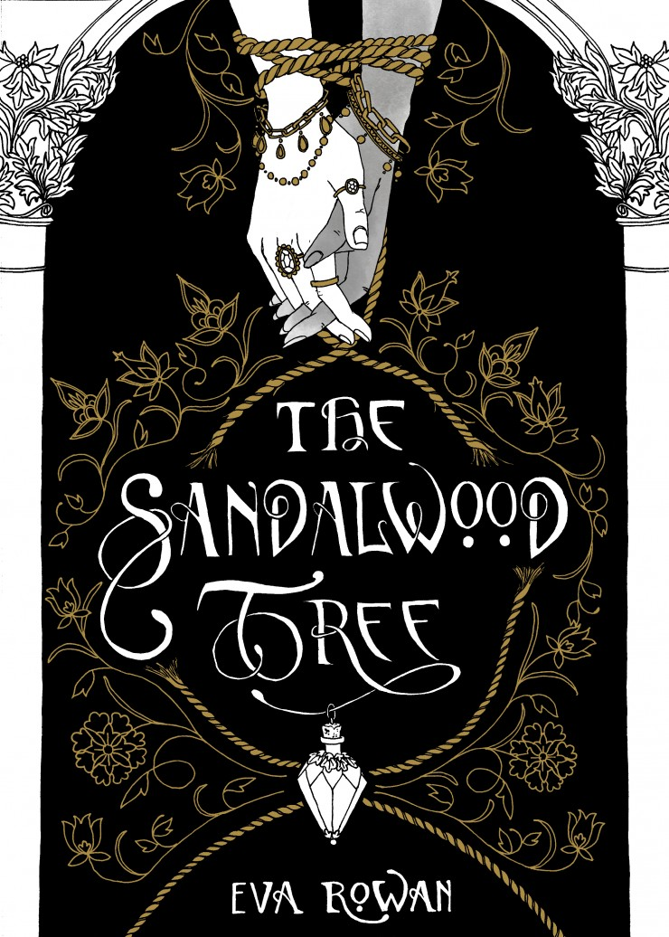 A book cover. Two intertwined hands are bound together with rope. A decorative vial is suspended from the title lettering.