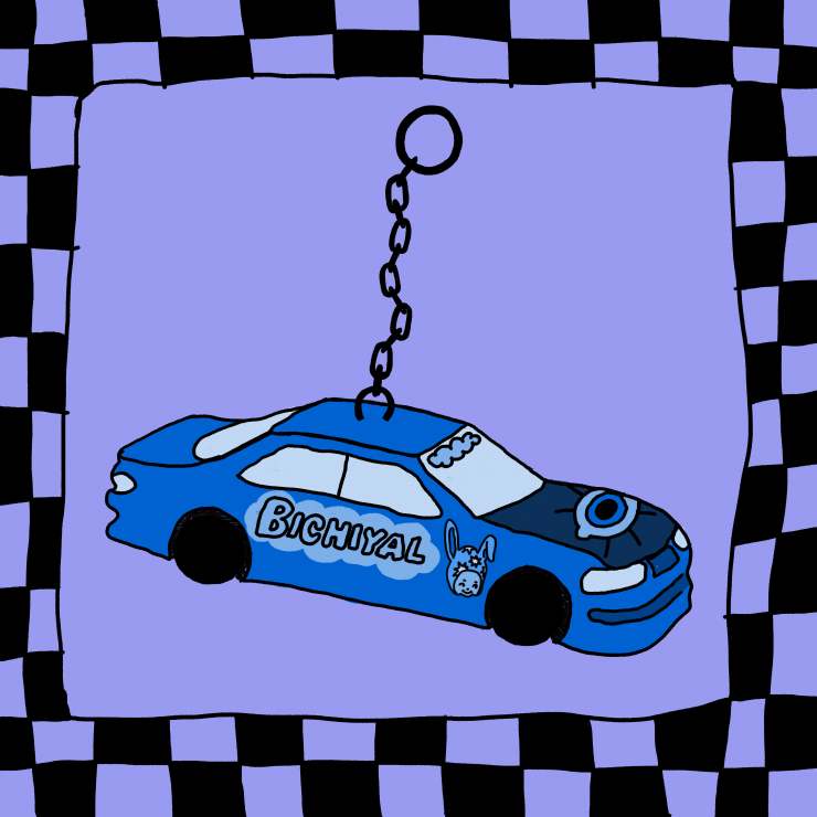 """A drawing of a car keychain placed on a bright purple background, the image is surrounded by a black checker border. The car keychain is a bright blue. Written on the side of the car is """"Bichiyal"""" enclosed in a cloud shape. Next to this, nearest"""