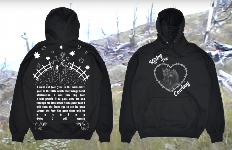 same as image one but on a black hoodie.