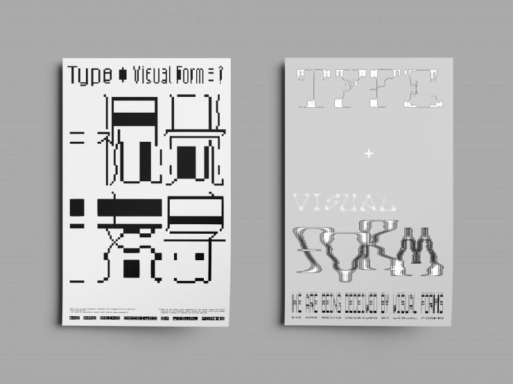 """28"""" x 44"""" size poster design in black and white used coding program"""