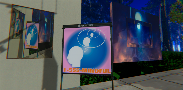 1-555-MINDFUL, a simulated brand that reminds the spectator of their marketable awareness.