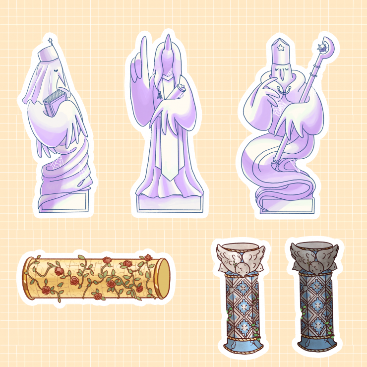 Necessary game assets such as pillars, sculptures, breaking objects.
