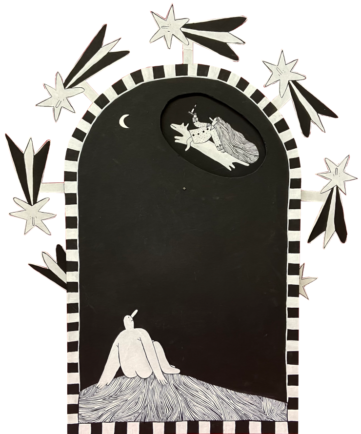 Image one is a black and white volvelle painting with two layers. The front layer is an arch shape with a cut out in the upper right section of the piece that allows the images from the back circular layer to peek through. The border of the back layer is