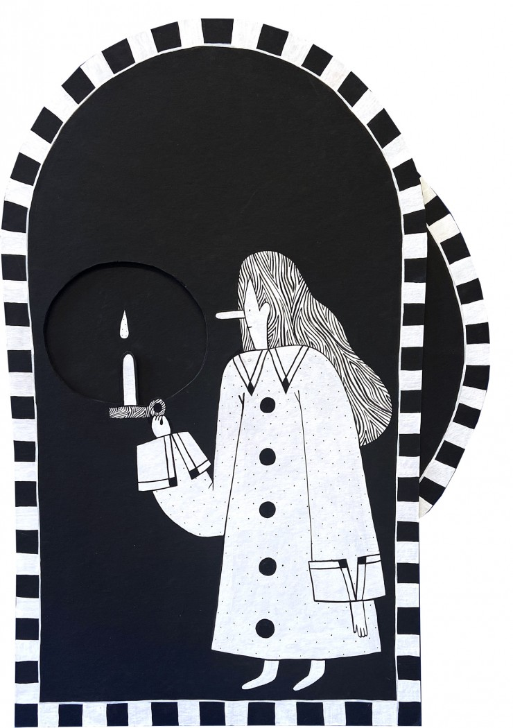 Image two is of another black and white volvelle painting. The front layer is shaped like an arch and has a turning wheel on the right side. Both pieces have a checkered border. The image in the painting is of a girl holding a candle. Her face is turned t
