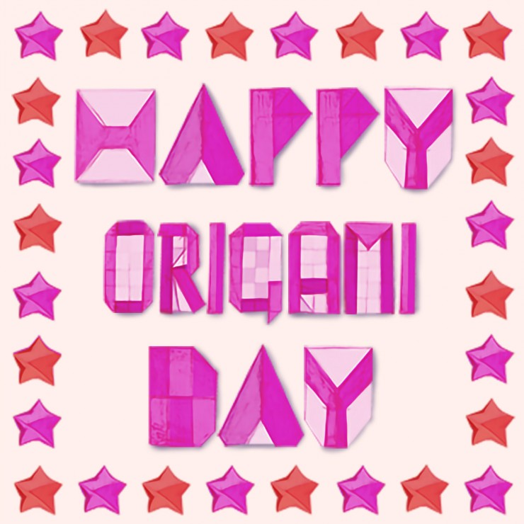 Happy Origami Day, drawn origami letters