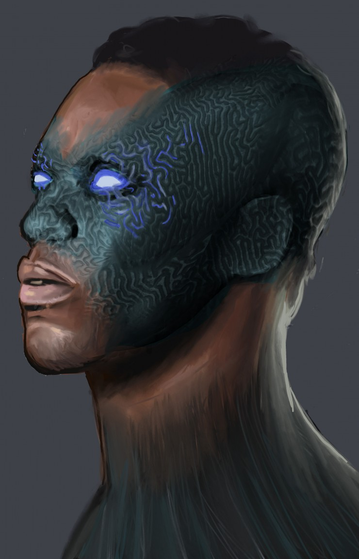The characters side profile. Black man with mini fro. His mask comes from with in him so his features are still visible but the green mask blends with his skin while having a slight coral texture. His eyes are glowing blue.
